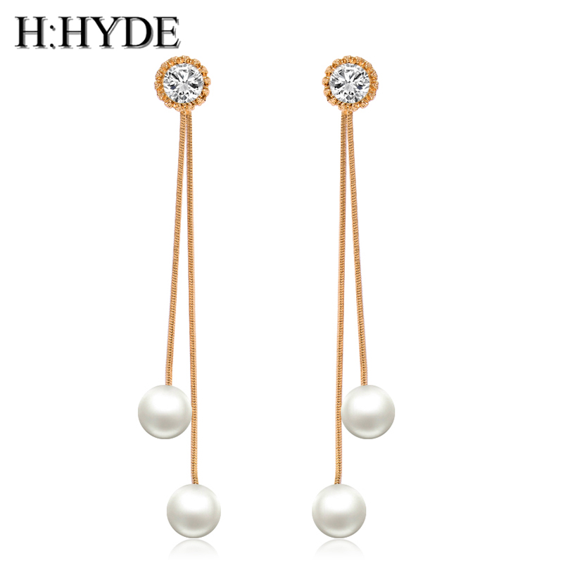 H:HYDE Korean Star The Same Paragraph New Fashion Imitation Pearl Tassel Earrings Jewelry Earrings Female Long Section Vintage