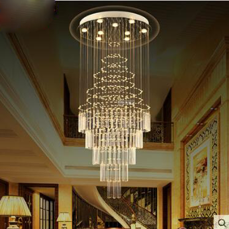 Double staircase chandelier Spiral staircase lamp Long chandelier Villa stairs Crystal chandelier Meteor shower Living room LED