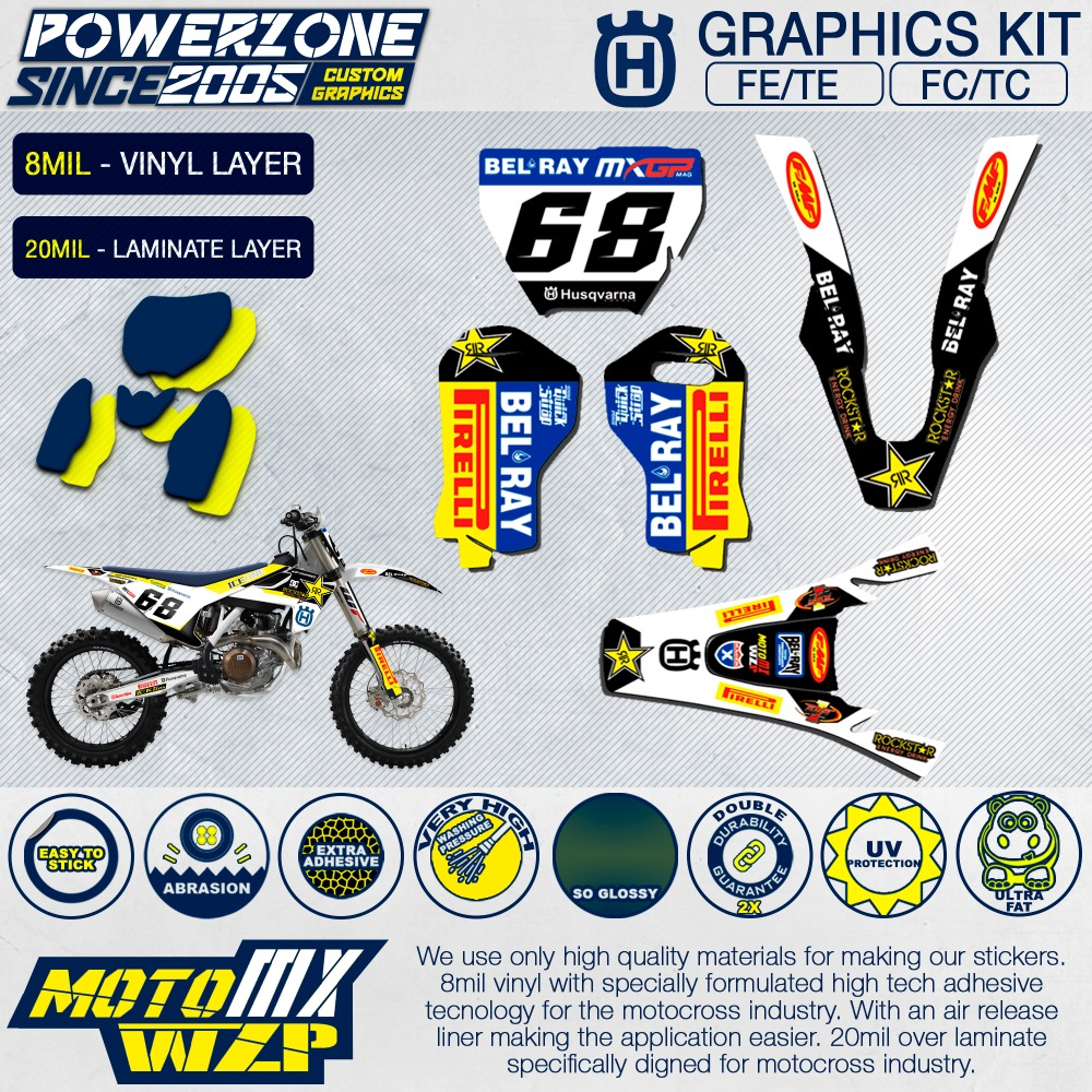 Customized team graphics backgrounds decals 3m custom stickers kit for husqvarna 2015 16 17 18 fe te fc tc 250 350 450 500cc in decals stickers from