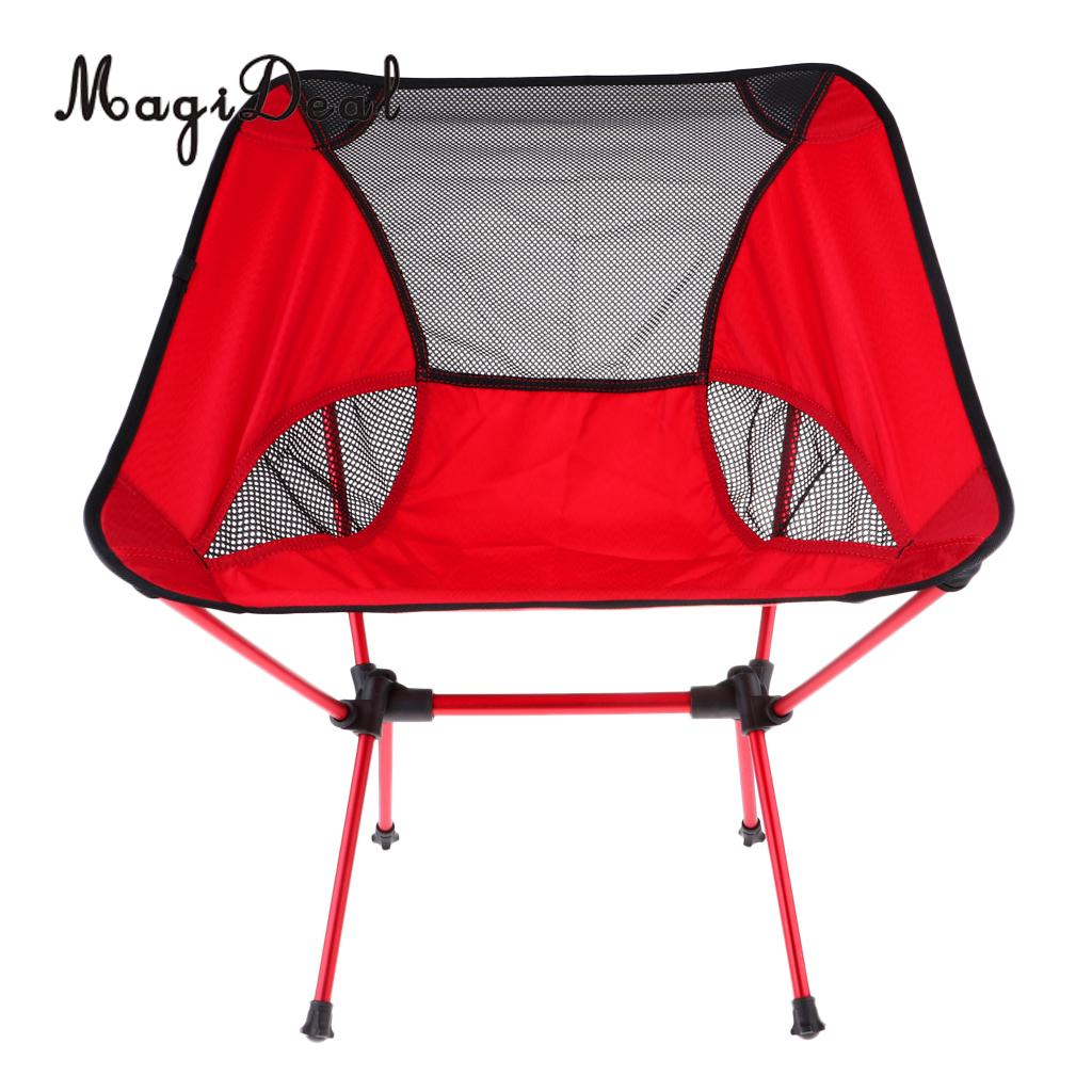 MagiDeal Ultralight Foldable Camping Chair Outdoor BBQ Fishing Seat Lounger Red