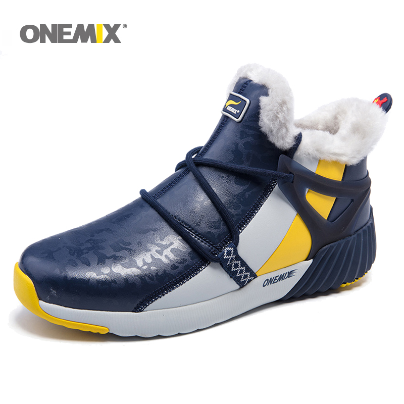 onemix New Waterproof Snow Boots men Sneaker Men Trainers Walking Outdoor Athletic Comfortable Warm Wool Running Shoes Hot sell 2017brand sport mesh men running shoes athletic sneakers air breath increased within zapatillas deportivas trainers couple shoes