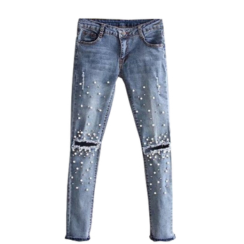 Jeans For Women Ripped Hole Stretch Denim Pants Beads Pearl Skinny Pencil Pants Casual Rivet Slim Trousers Mid Waist Cowboy
