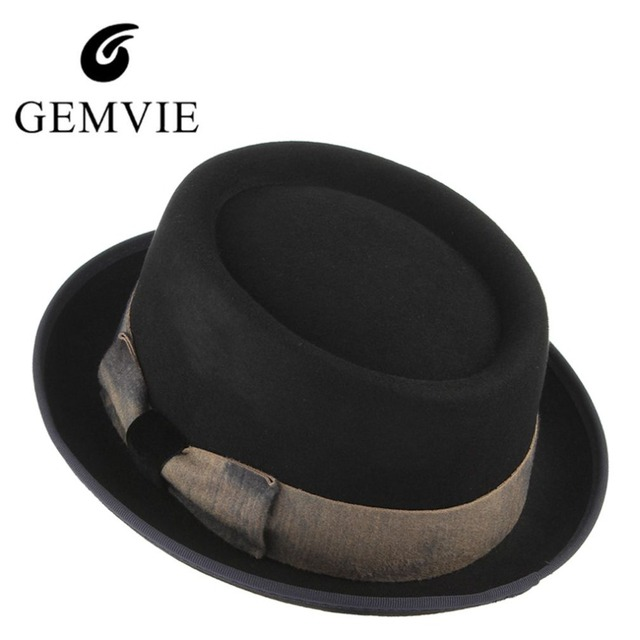 Cor preta Steampunk Chapéu Para Os Homens Do Vintage Bowknot Lã Top Hat  Fedora Igreja Masculinos 11488cc1af2