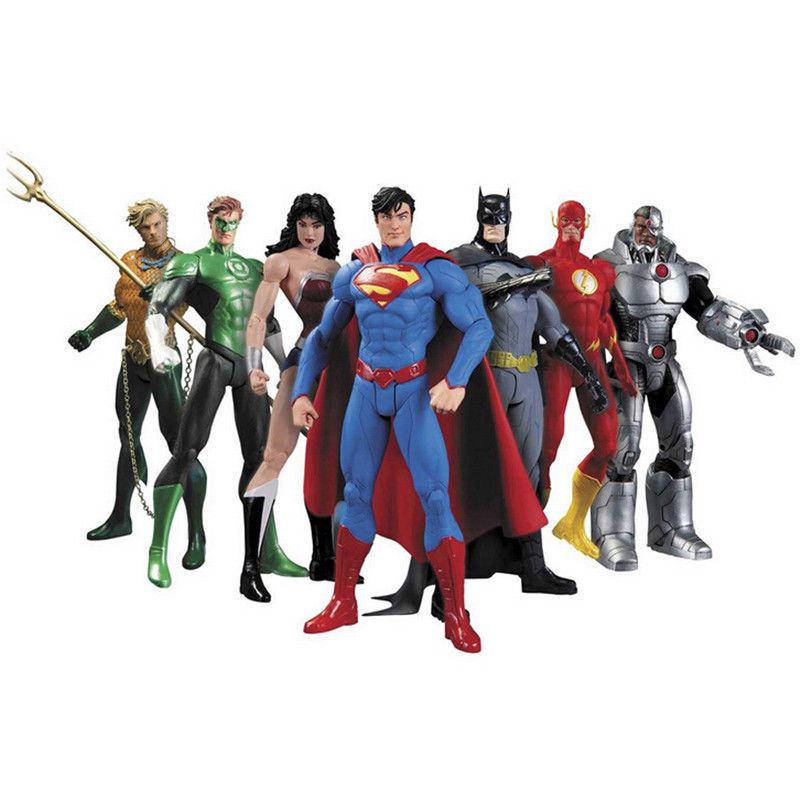 7 pièces DC Justice League Figurines Superman Batman Super-Héros Aquaman Le Flash Wonder Woman Cyborg Vert Lanterne Films Cadeaux