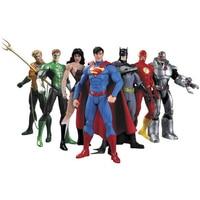 7PCS DC Justice League Action Figures Superman Batman Superhero Aquaman The Flash Wonder Woman Cyborg Green Lantern Movies Gifts