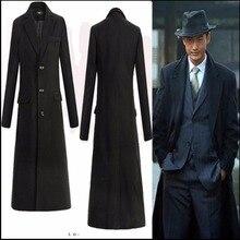 M-4XL, Зимняя мода, новинка, мужской ультра длинный Тренч, пальто, тонкое длинное пальто, модная шерстяная Верхняя одежда с отворотом, костюм певицы