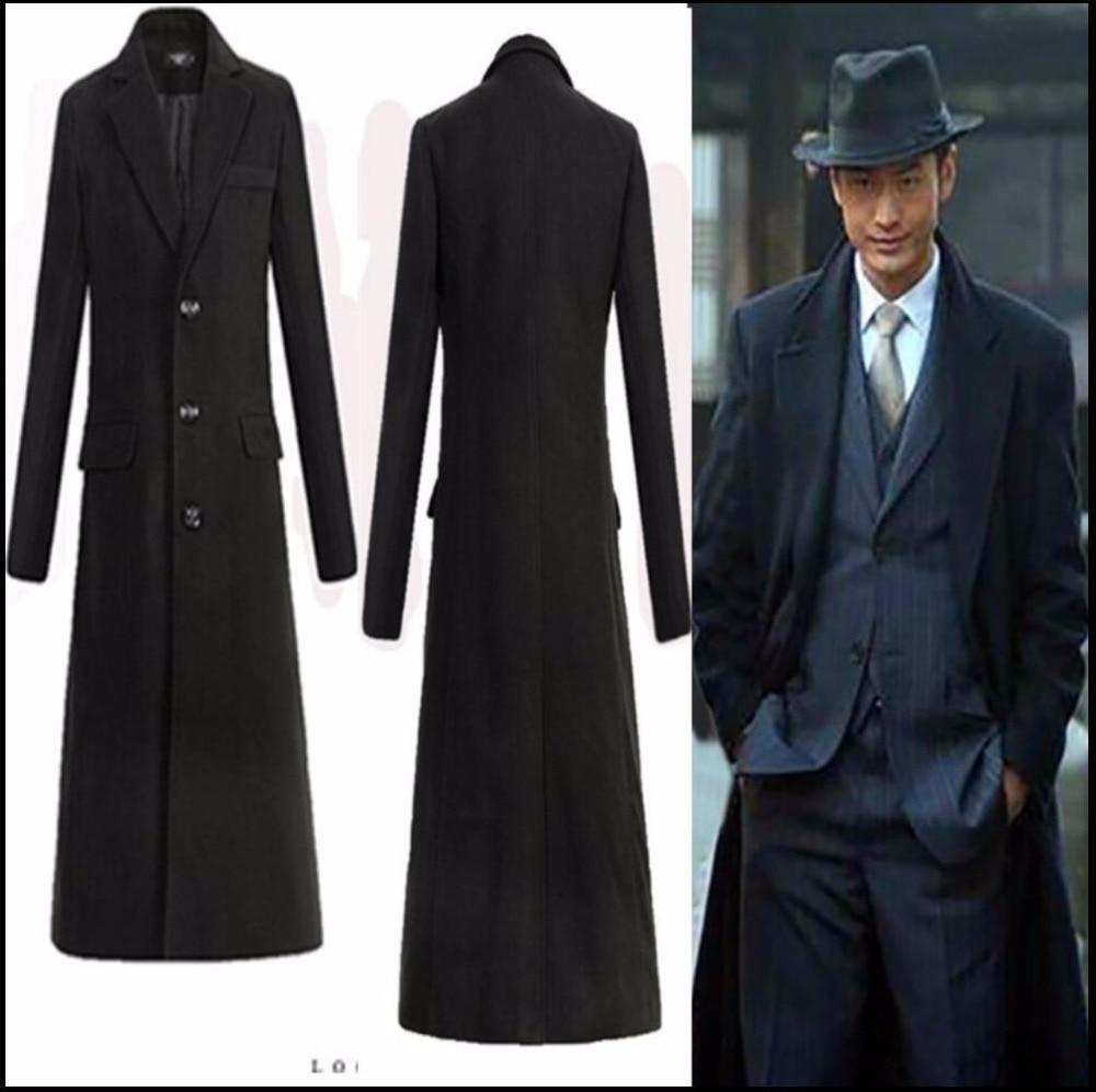 M -4xl Winter Fashion New Men Ultra Long Paragraph Trench Coats Slim Long Overcoat Fashion Lapel Woolen Outerwear Singer Costume