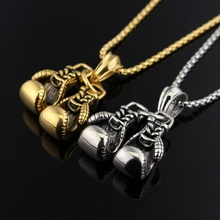 Double Fist boxing gloves Necklace For Men Hiphop Style yellow Gold Stainless Steel chain