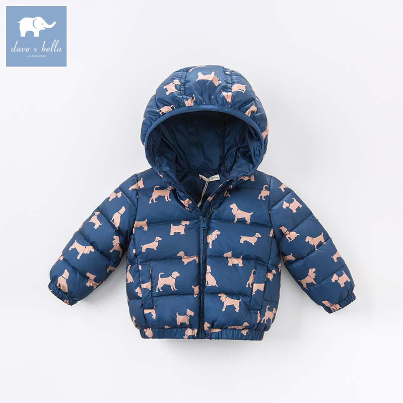 DBZ6686 dave bella autumn winter baby boys down jacket children dogs printed coat kids hooded outerwear db3814 dave bella autumn baby boys star printed t shirt kids navy tees bosy tops kids t shirts