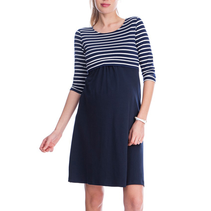 Spring Tencel Blue Striped Dresses for Pregnant Women Summer Black Knee Length Maternity Dresses Breastfeeding Pregnancy Clothes
