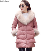 KoHuiJoo Winter Leather Jackets Women Natural Fox Fur Collar Slim Thick Long Faux Leather Coat Female Overcoats Plus Size 3XL