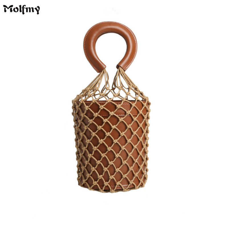 Women Net Bag Luxury Designer Bucket Handbags Fashion Hollow Out Cowhide Leather Tote Summer Travel Beach Bag Female beach bag