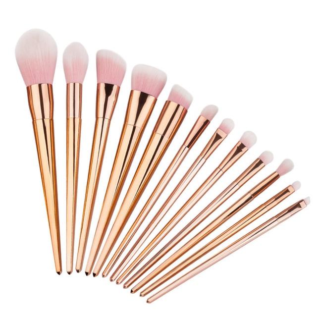 12 Unids/set Polvos Base Maquillaje Pinceles Set Pro Sombra de Ojos Rubor y Contorno de Labios de Cejas Cepillo Cepillos Cosméticos Herramientas de Maquillaje