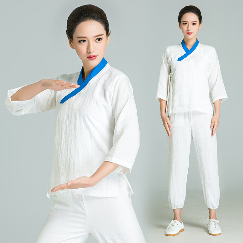 Wu Nong Wudang Tai Chi Suit Linen Kung Fu Clothes Hand Painted Tai Chi Clothing Women Uniform Include Top And Pant