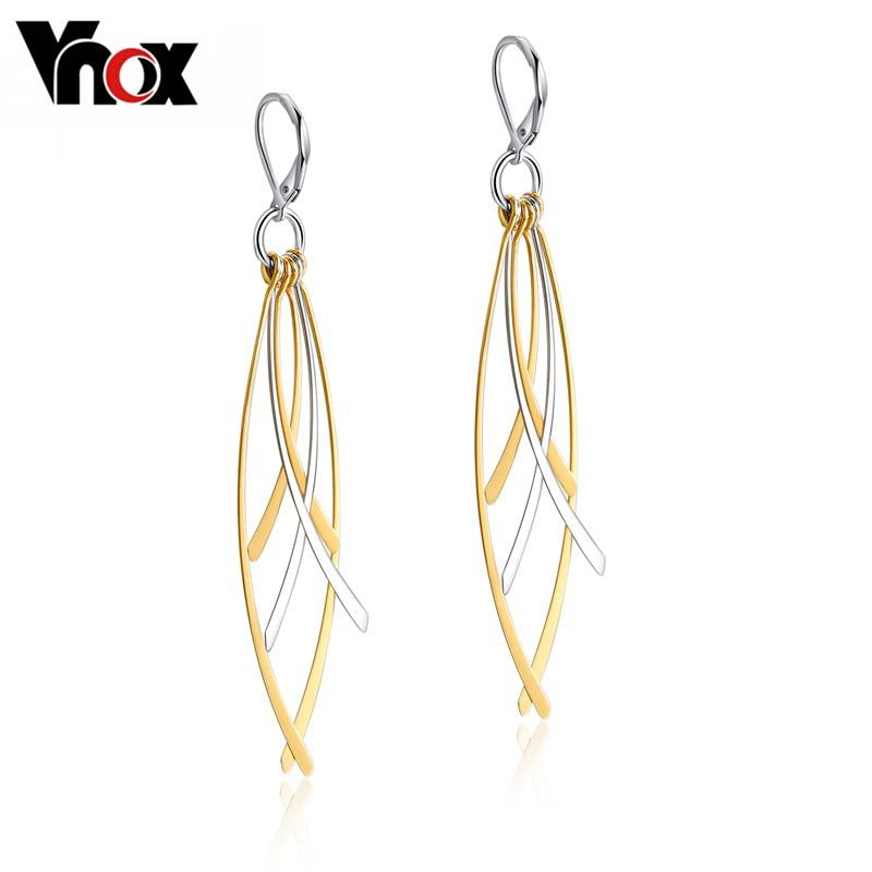Vnox Long Drop Earrings for Women Stainless Steel Tassel Ear Fashion Dangle цена 2017