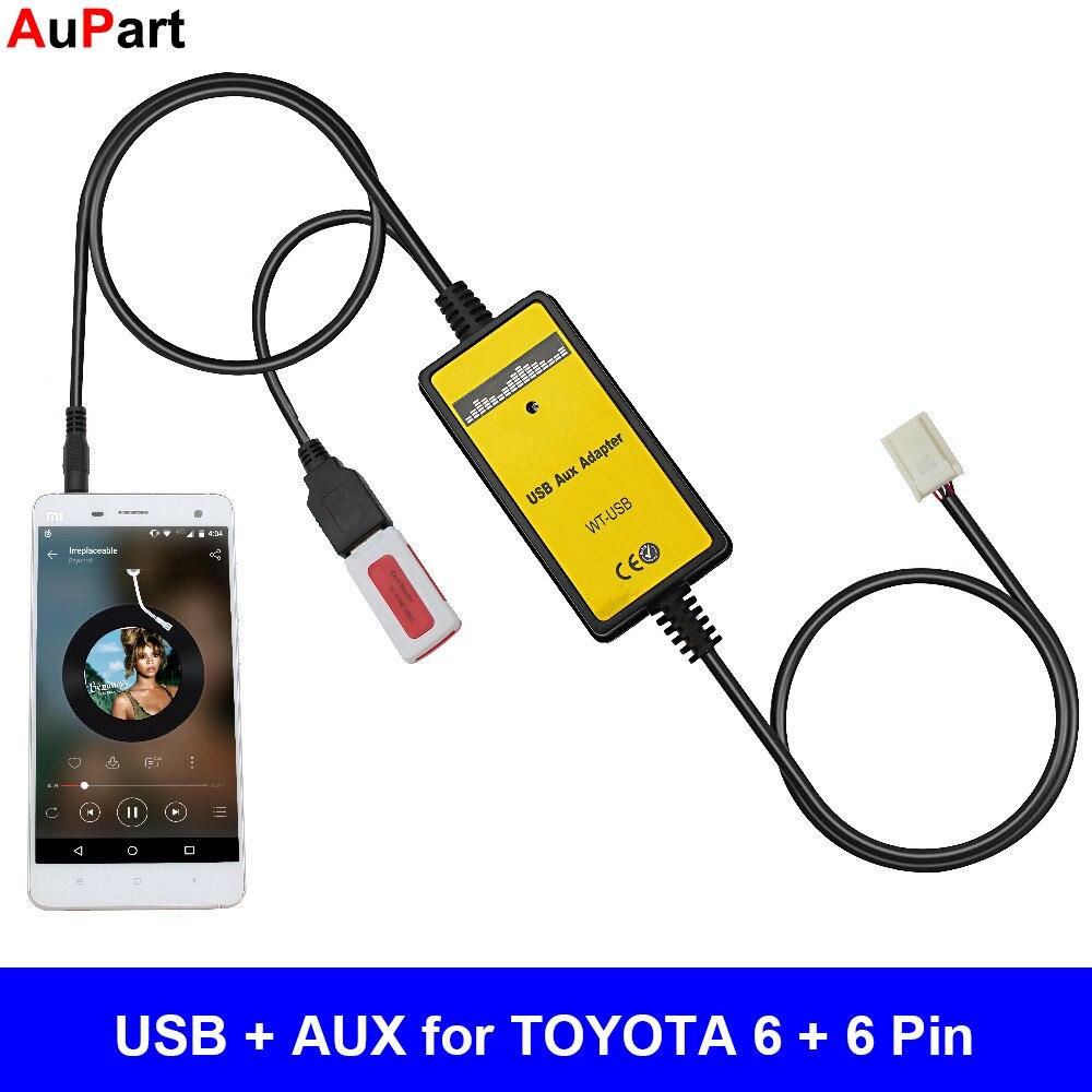 La Radio del coche MP3 adaptador AUX USB interfaz de 3,5mm de cambiador de CD para TOYOTA Corolla Camry Avensis RAV4 Auris Venza Yaris vitz para Lexus