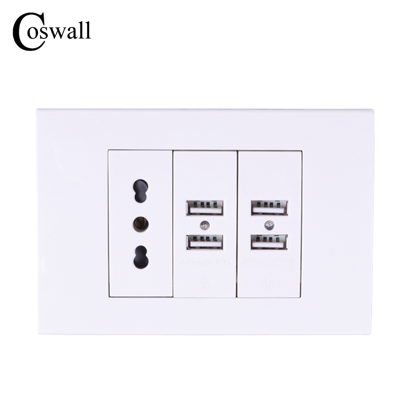 Coswall Wall Power Socket Plug, Italian / Chile Electrical Outlet With 4 USB Charger Port For Mobile 118mm*80mm