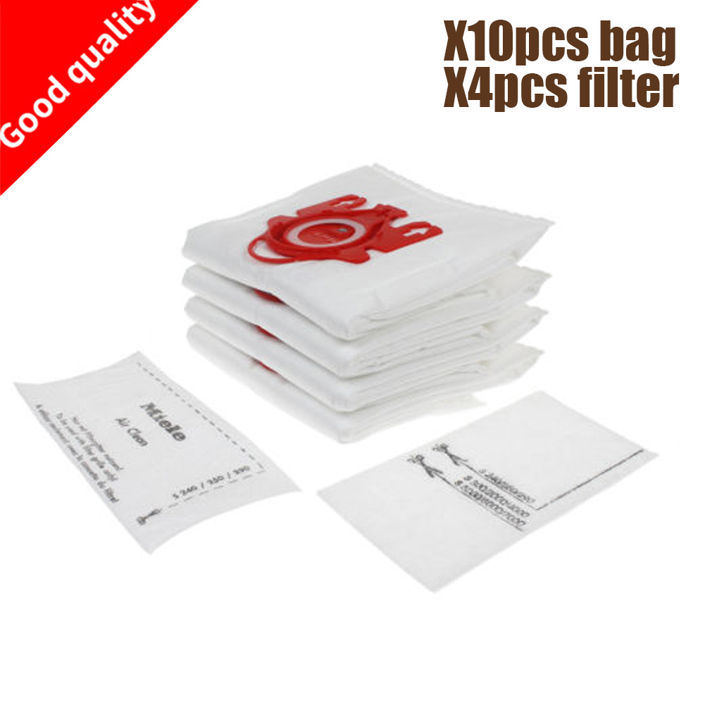 10Pcs/Lot For MIELE FJM C1 & C2 Synthetic Type Hoover Hepa Vacuum Cleaner DUST BAGS With 4pcs FILTERS