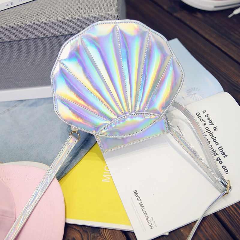 Meisjes Laser Parel Shell Cross Handtas Lichaam Messenger Bag Shopper Vrouwen Schouder Hobo Holografische Tas Mermaid Cosplay