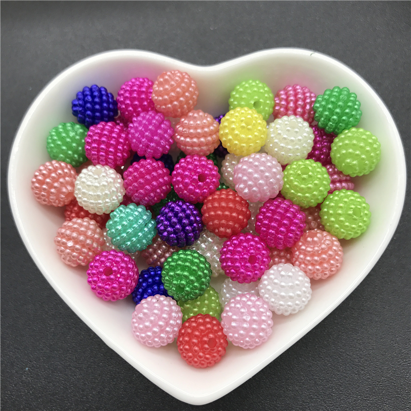 10mm 50pcs Acrylic Beads Bayberry Beads Round Loose Beads Fit Europe Beads For Jewelry Making DIY