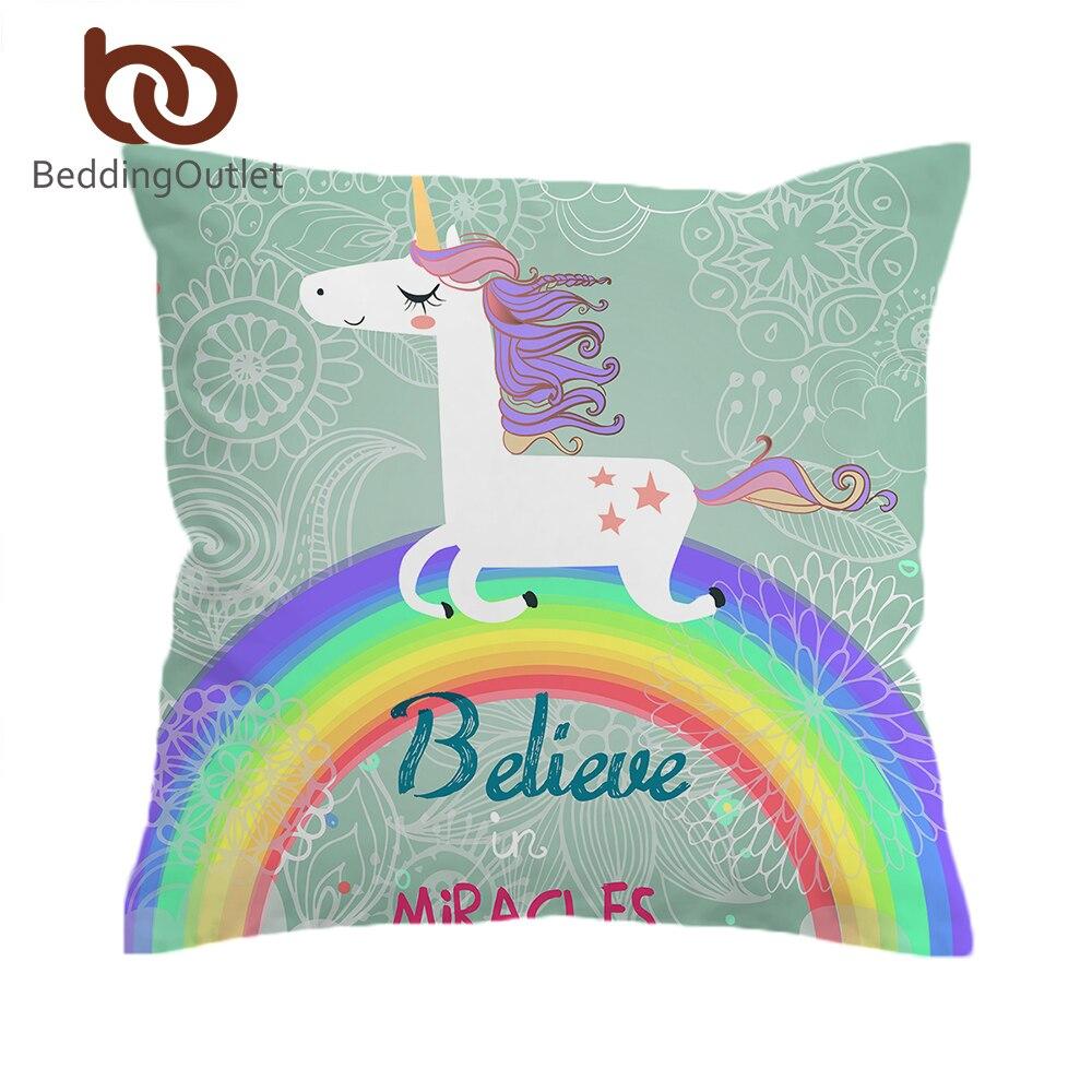 BeddingOutlet Rainbow Unicorn Чехлы считаем чудеса мультфильм наволочка животных для детей девочек Наволочка Мягкий 2 размеры
