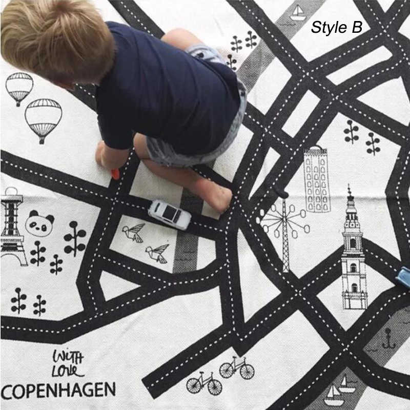 Bayi Bermain Mat Mainan untuk Tikar Anak-anak Karpet Playmat Car Track Peta Cetak Merangkak Gym Karpet Balita Mengembangkan aktivitas Pad