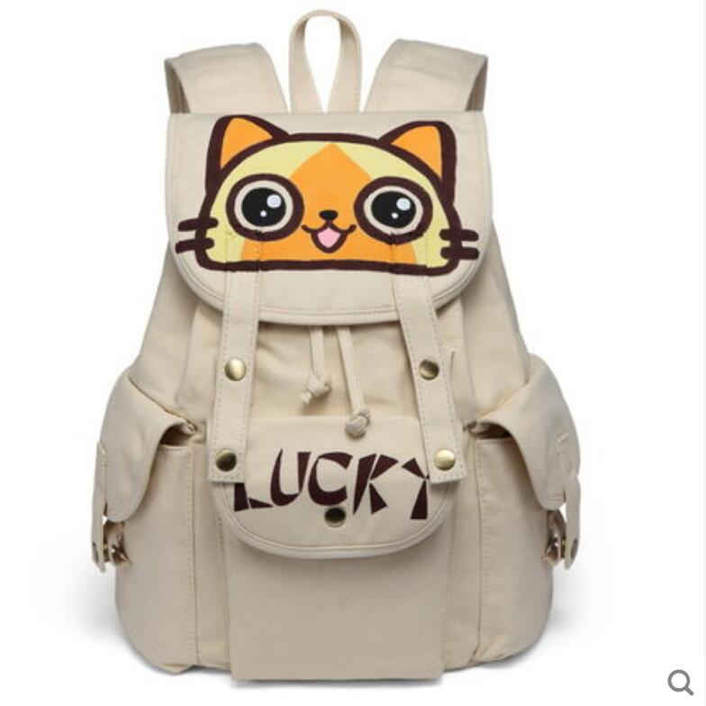 2018 new canvas shoulder bag men and women Korean fashion student school bag campus hand-painted large capacity cartoon backpack 2017 new painted canvas bag shoulder bag korean version of the travel backpack student bag school bag campus