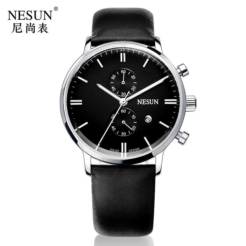 все цены на Nesun Men's Watches Top Brand Luxury Citizen Quartz movement Watch Men Chronograph Wrist clock Waterproof reloj hombre N8601-2 онлайн