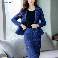 wreeima white blue Autumn women Tweed suits Fashion tops skirts 2 piece sets women Short woolen coat and skirts sets 2019 spring