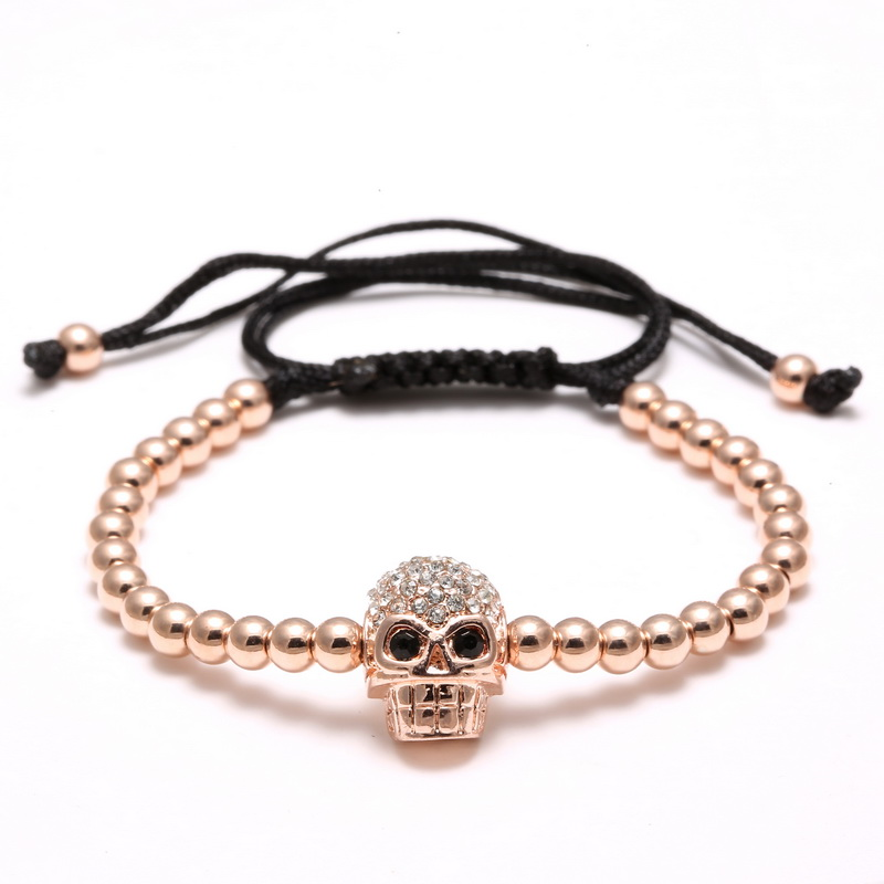 Rose Gold Skull Charm Bracelet DIY Handmade 4mm Micro Pave Black CZ Beads Macrame Bracelet Braided Weaving Bracelets Men Jewelry
