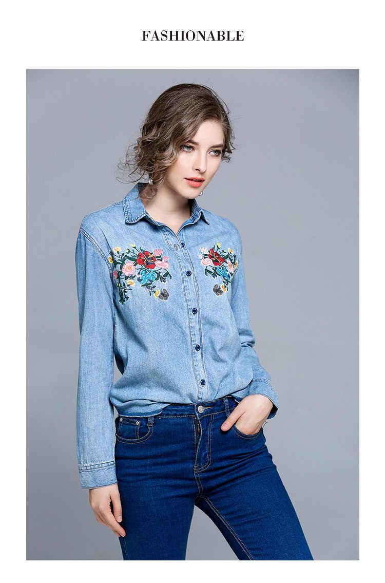 Primavera flor bordado Jeans camisa Blusas Mujer De Moda 2019 camisa De mezclilla De manga larga mujeres camisetas femeninas K7113