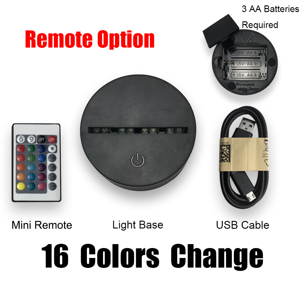 Only Lamp Base Switch Three Colors Touch 7 Colors Remote 16 Colors Not Include Acrylic Plate Suitable Our Acrylic Plate