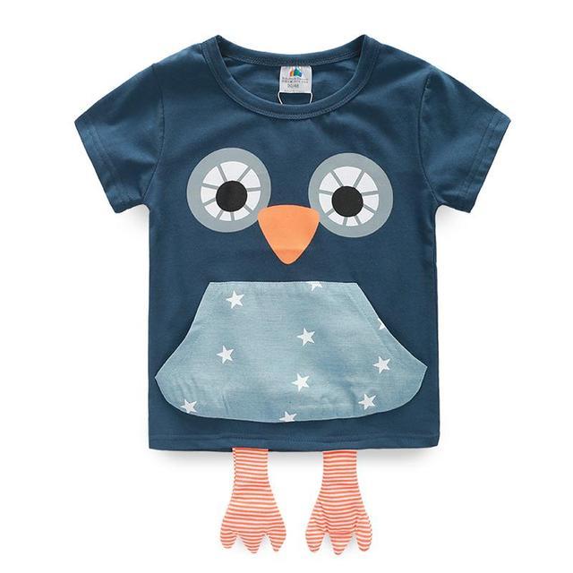 Camiseta de las muchachas de Bolsillo Del Buho Niños Camiseta Solid Impresión Muchachas de la Historieta Camisetas Ocasionales 2017 Del Verano Ropa de Los Cabritos 2240