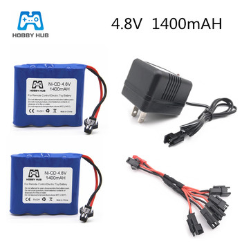 Hobby Hub 4.8V 1400mAh Ni-Cd Battery For Remote Control Toys Electric Tool AA nicd RC TOYS Battery Group With 5 in 1 Charger image