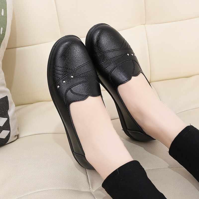 2020 yeni kadın bale daireler ayakkabı loafer'lar üzerinde kayma yumuşak deri bayan Moccasins sığ tekne ayakkabı balerin Zapatos Mujer