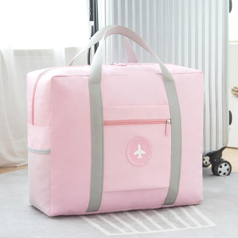 Foldable Large Travel Bag Women Waterproof Big Duffel Bags Suitcase Weekend Bag Travel Organizer Overnight Bags Travel Tote Pink