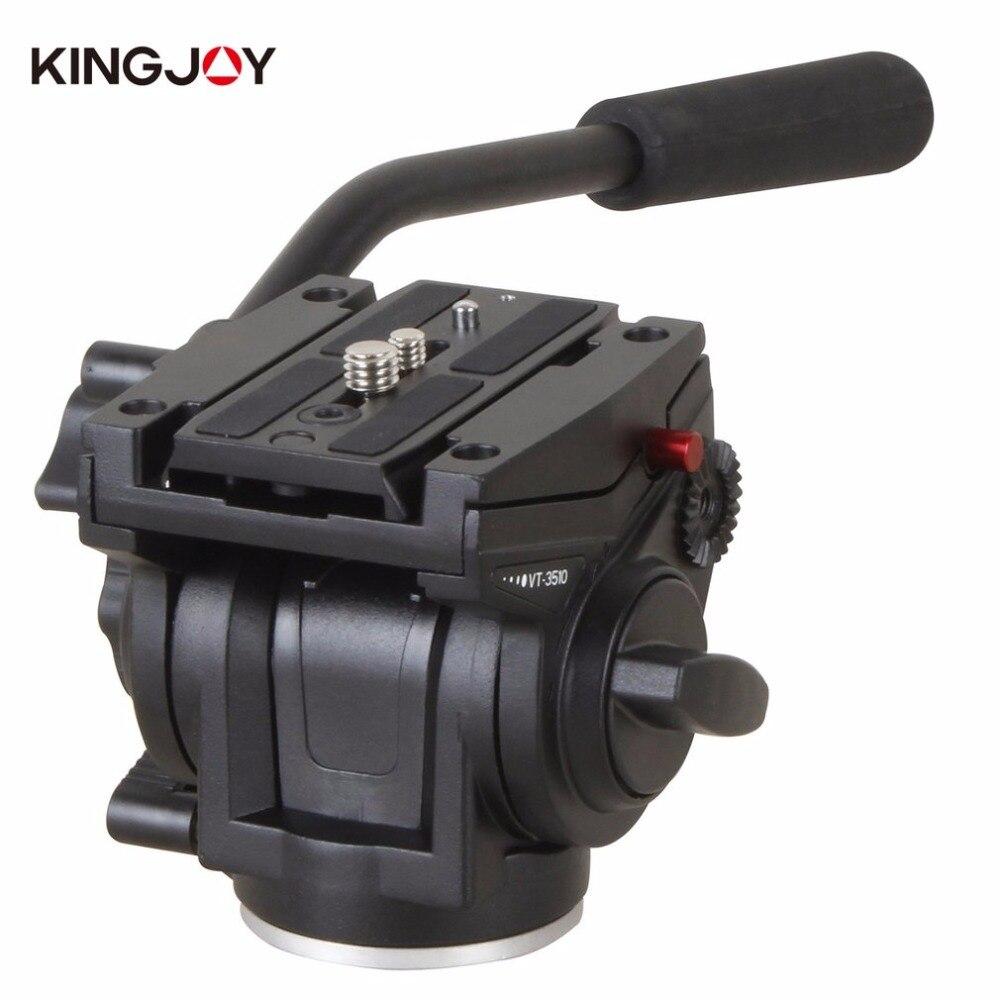 KINGJOY VT-3510 Liga de Alumínio Câmera Fluido de Amortecimento Cabeça Para SLR Câmera Tripé Com UNC 1/4 3/8 Fio da câmera