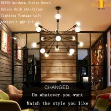 REVEN Vintage Chandeliers Multiple Rod Wrought Iron Ceiling Lamp E27 Bulb Restaurant light / hotel