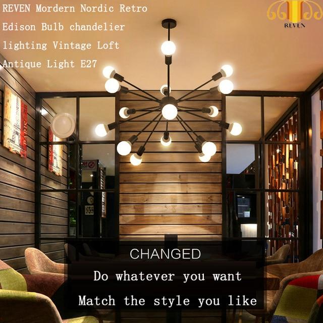 REVEN Vintage Chandeliers Multiple Rod Wrought Iron Ceiling Lamp E27 Bulb Restaurant light / hotel light