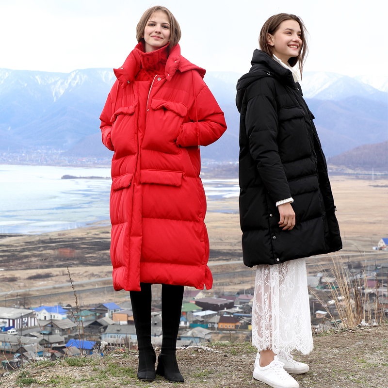 Amii Minimalist Women Long Down Jackets Winter 2018 Causal Soild Pockets Thick Warm 90% White Duck Down Female Hooded Down Coat