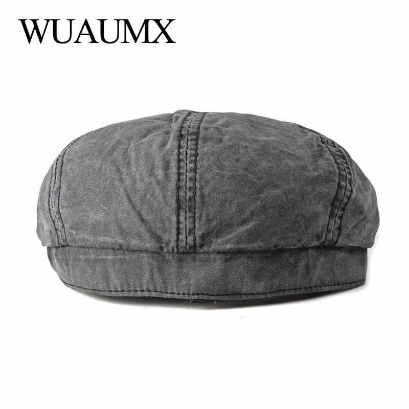 03ca28e5c8 ... Wuaumx Casual Eight-blade Cap Octagonal Hats For Men Newsboy Caps  Painters Hats Cotton Berets ...