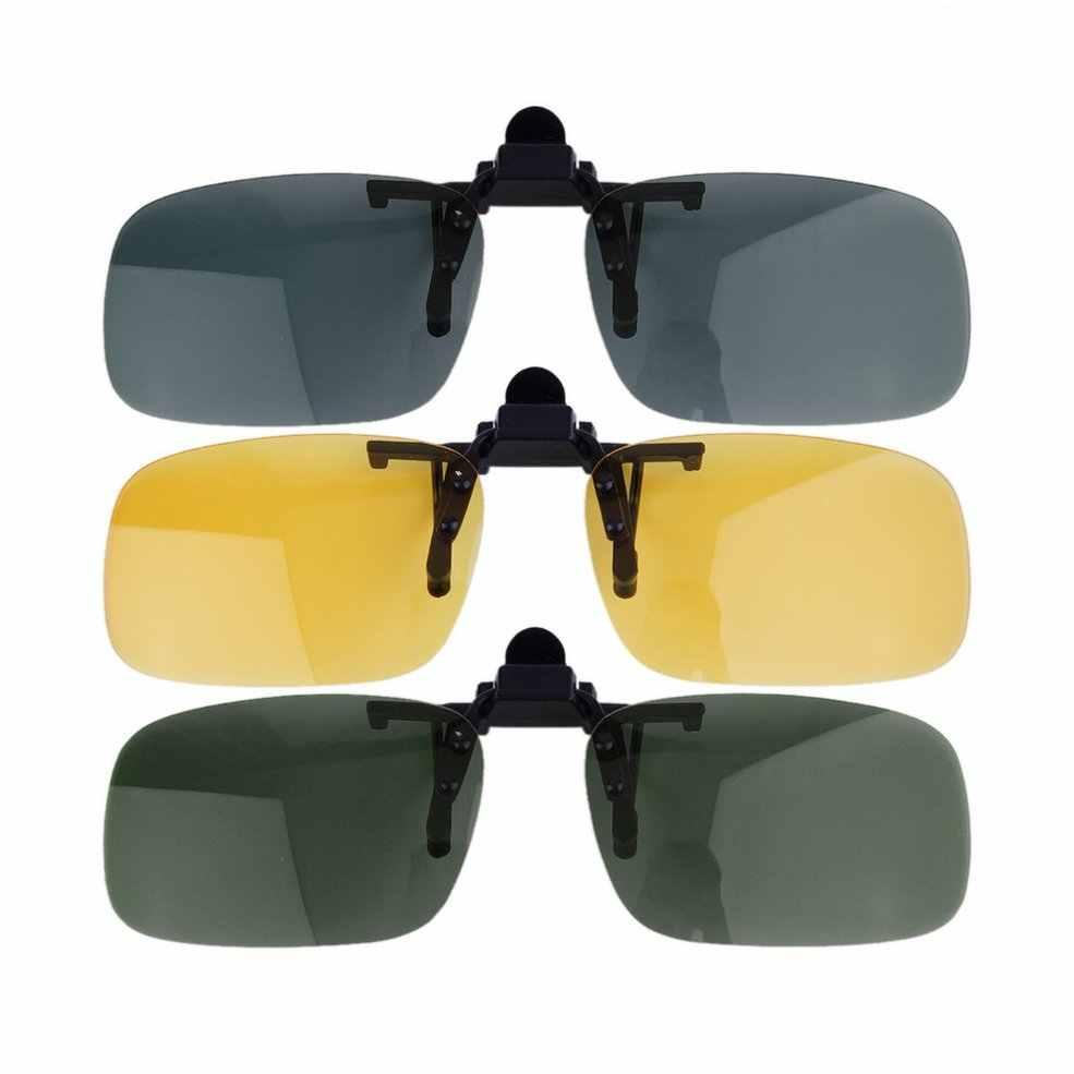 Mới Lái Xe Ban Đêm Kẹp Nút Bật Ống Kính Kính Mát Thoáng Mát Kính Mắt Kẹp Trên Ống Kính Chống Tia UV 400 Unisex dành cho Nữ & Nam