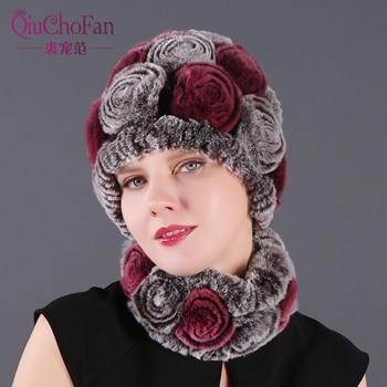 Fashion Girl Fur Cap Lady Winter Natural Real Rex Rabbit Fur Hat Scarf Suite High Quality Women 100% Genuine Fur Free Shipping 1