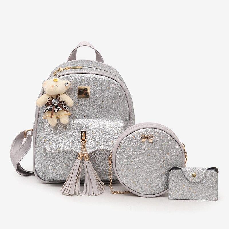 Female Leather Backpack Women's Small Bag Set Luxury Lady School Bags For Teenage Girls Waterproof Casual Backpacks Woman 2019
