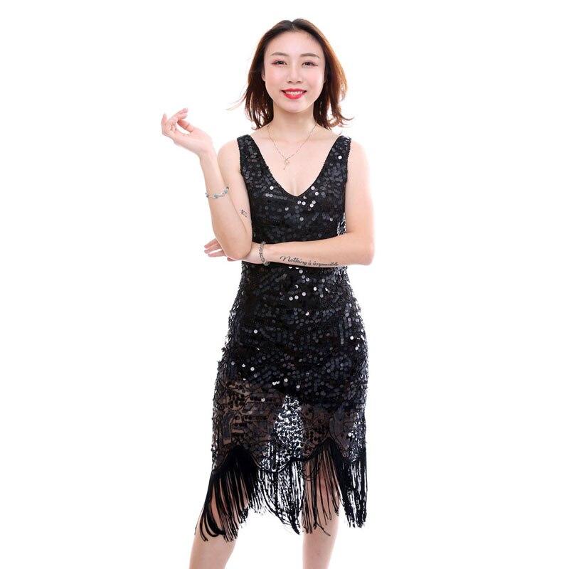 Gland Aileron Apricot 2018 Gatsby noir Verano Kr2015 1920 Fringe Nouveau Robes Sequins De Robe S Luxe Design rose Great a8wfO8