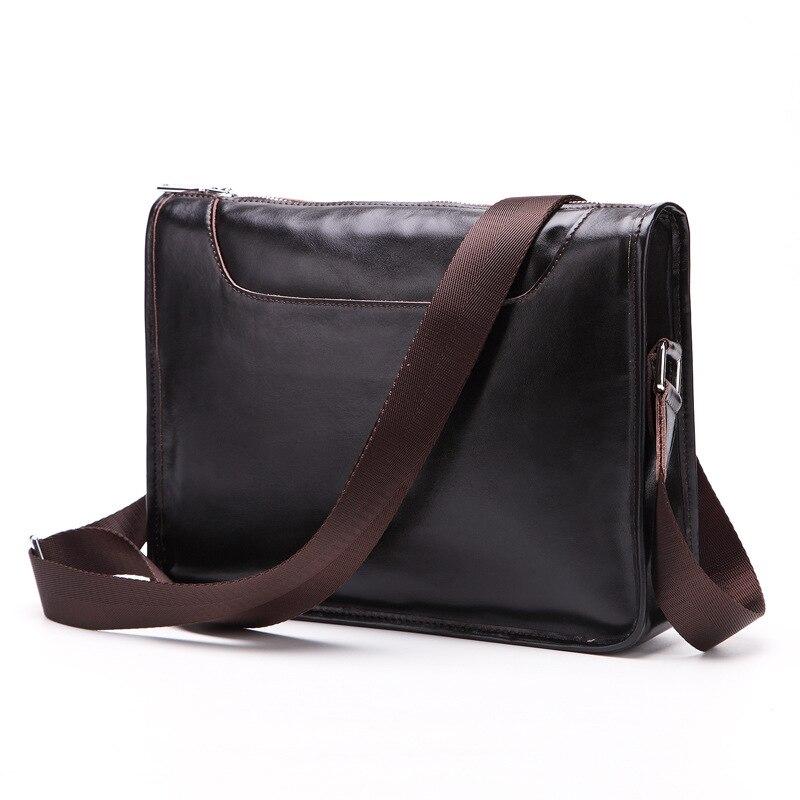 Casual Crossbody Bags Genuine Cow Leather Shoulder Messenger Bag Business Men's Handbag Solid Vintage Satchels Designer Male Bag
