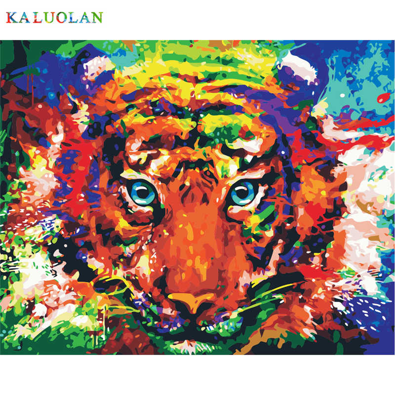 Frameless Picture Abstract Color Tiger Wall Decor Pictures Diy Painting By Numbers Hand Painted On Canvas For Living Room