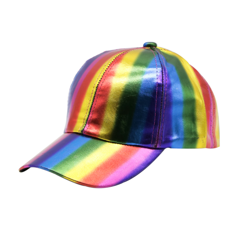 6b6d47b54 US $8.99 |PU Leather Men's Cap Rainbow Caps Bright Colors Baseball Cap Caps  For Men Leathner Baseball Hat For Women Clothing Accessories-in Men's ...
