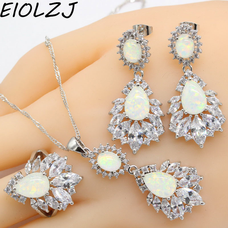925 Silver Jewelry Sets For Women Goldfish Pink White Blue Opals Bridal Earring Sets Pendant Rings Dangle Earrings Free Gift Box