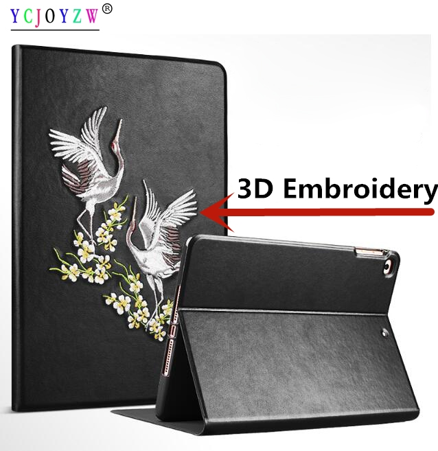 Case For Apple ipad Mini 4 A1550`A1538 , YCJOYZW-PU leather+ silicone Smart cover Awake Sleep Flip For ipad 3D Embroidery case